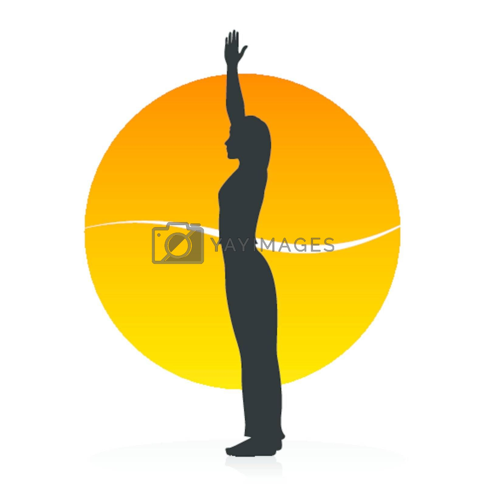 Vector silhouette of a woman in yoga asana