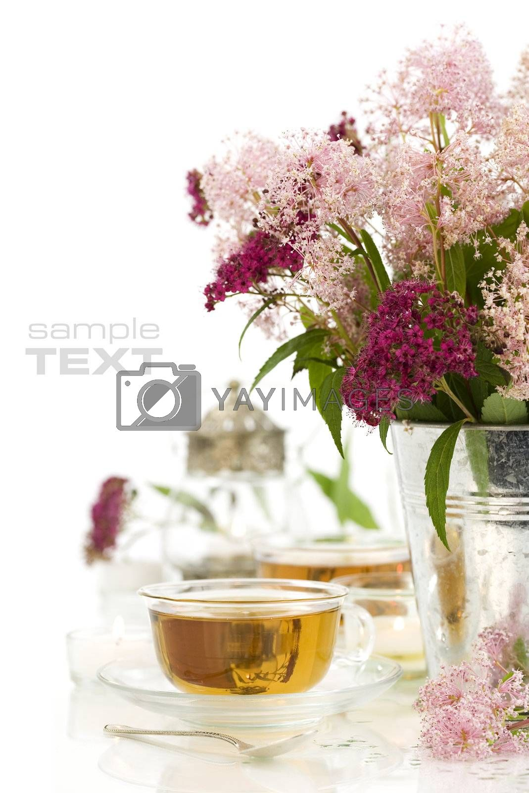herbal tea, candles and fresh wild flowers over white