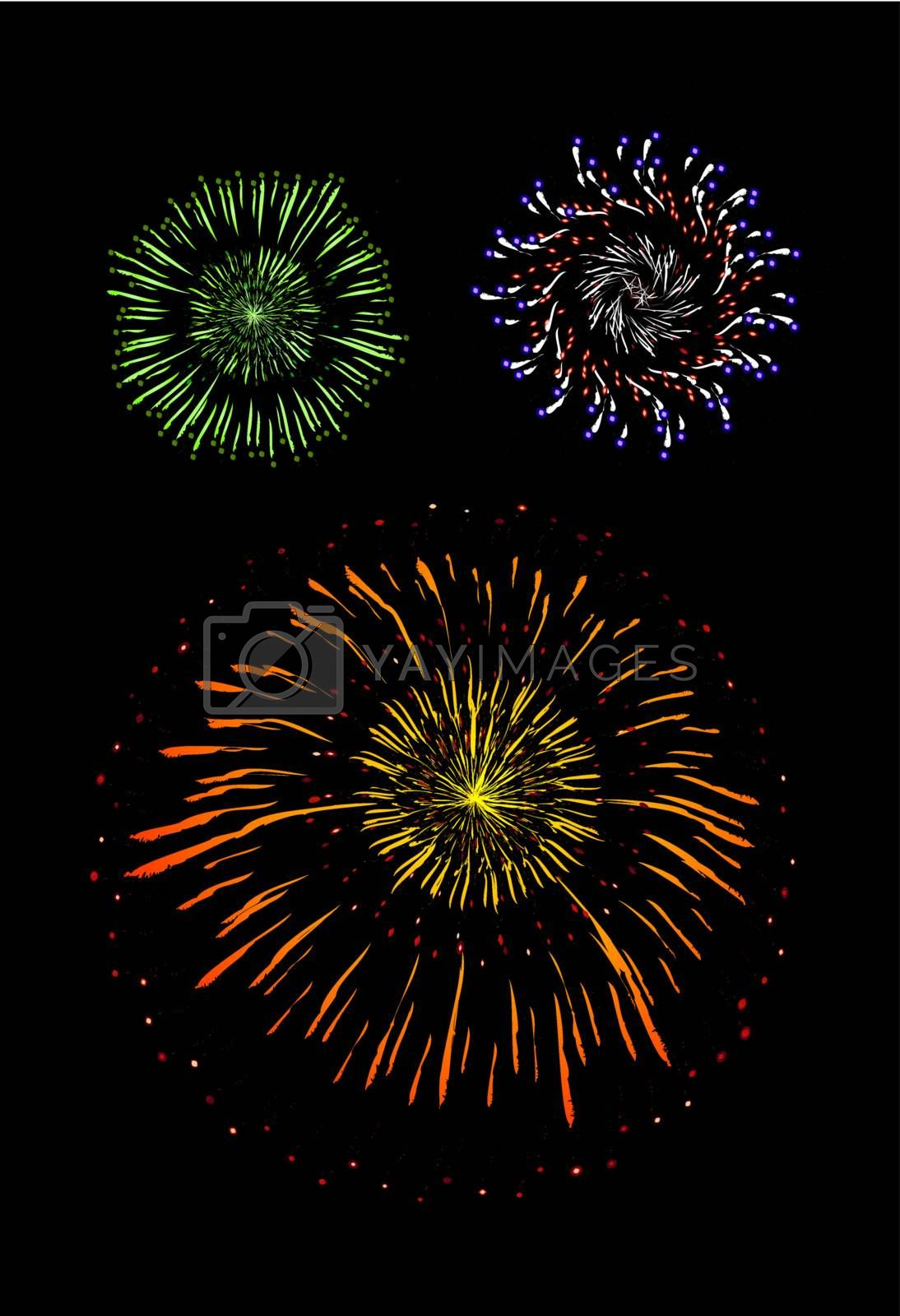 Brightly Colorful Vector Fireworks and Salute- vector isolated on black background