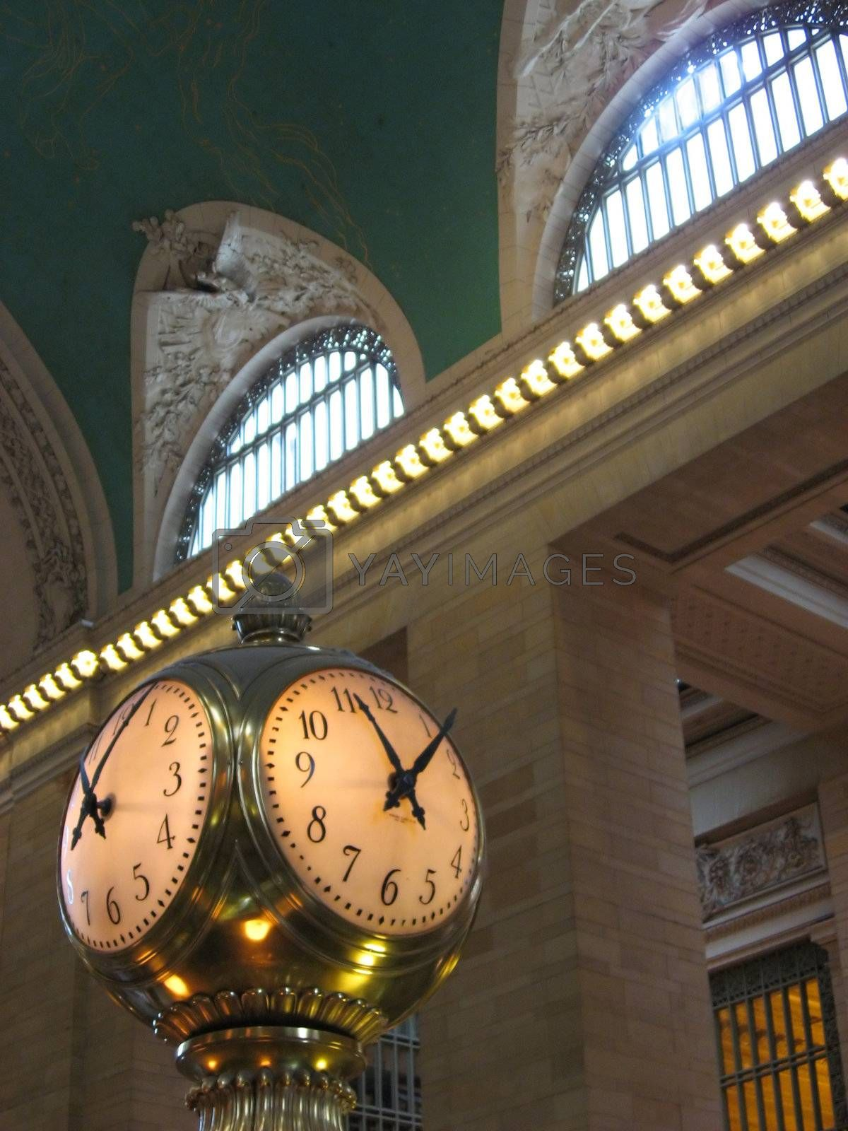 The old clock in the center of grand central station in New York City.