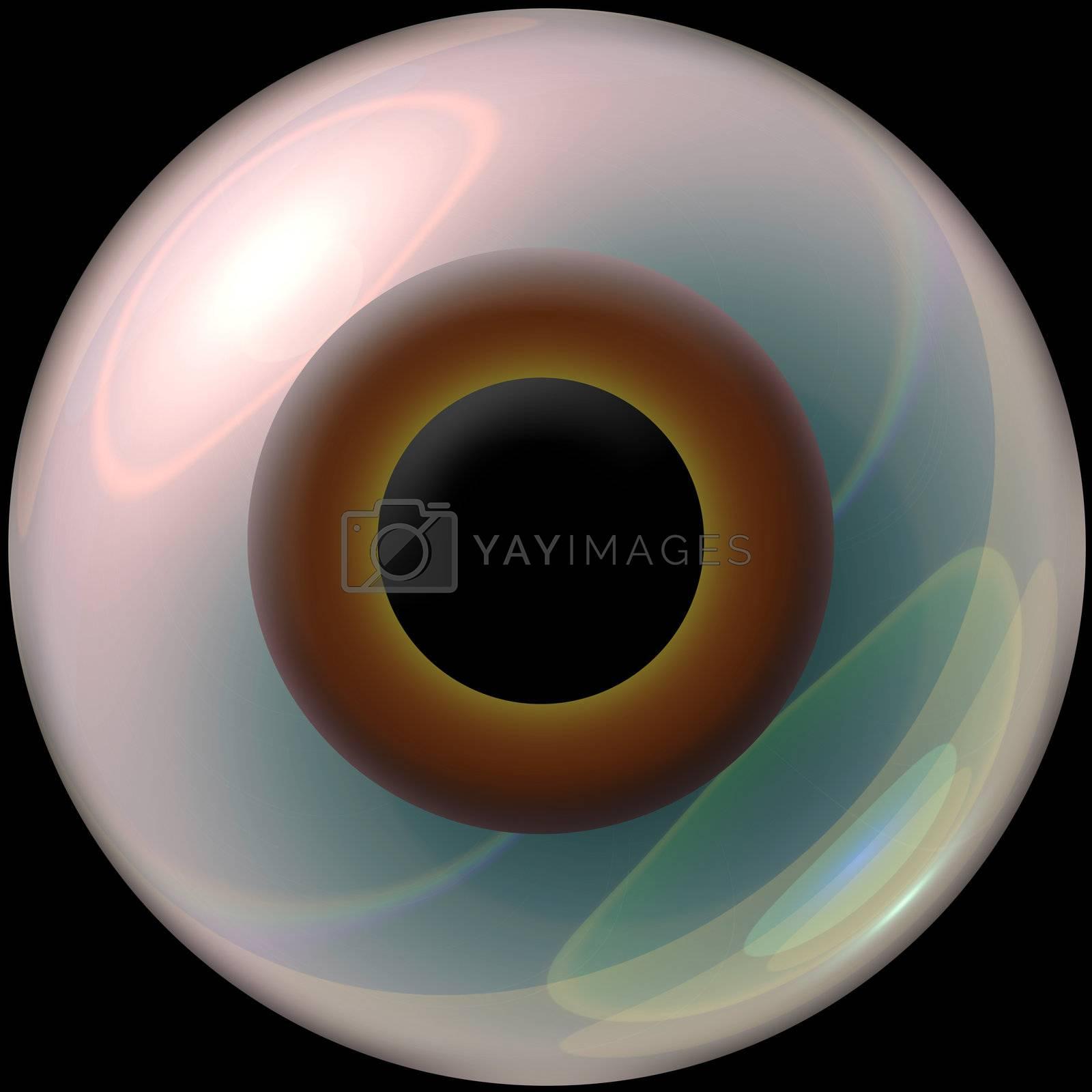 A brown 3d eyeball.