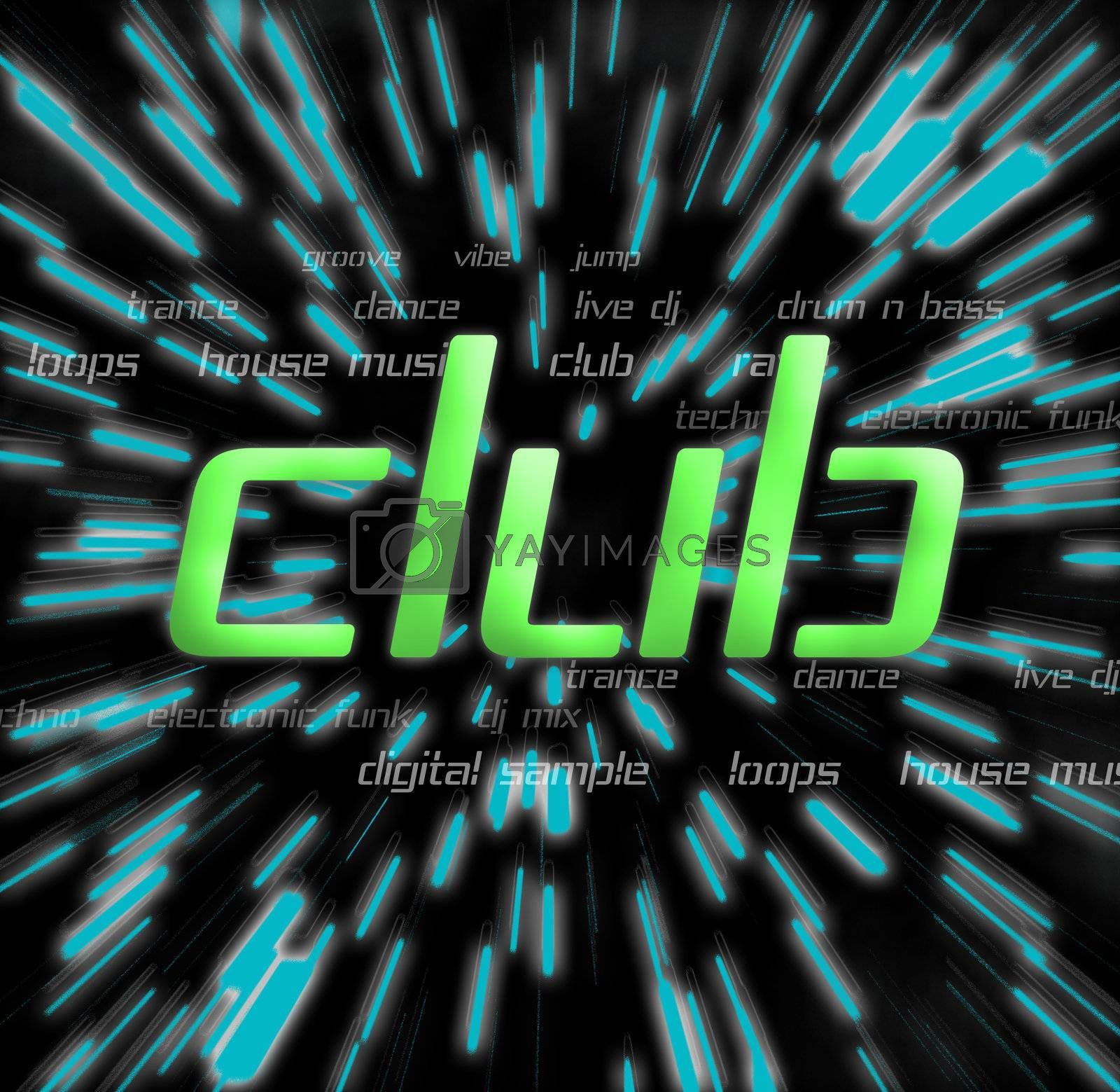 a club montage over a star field background
