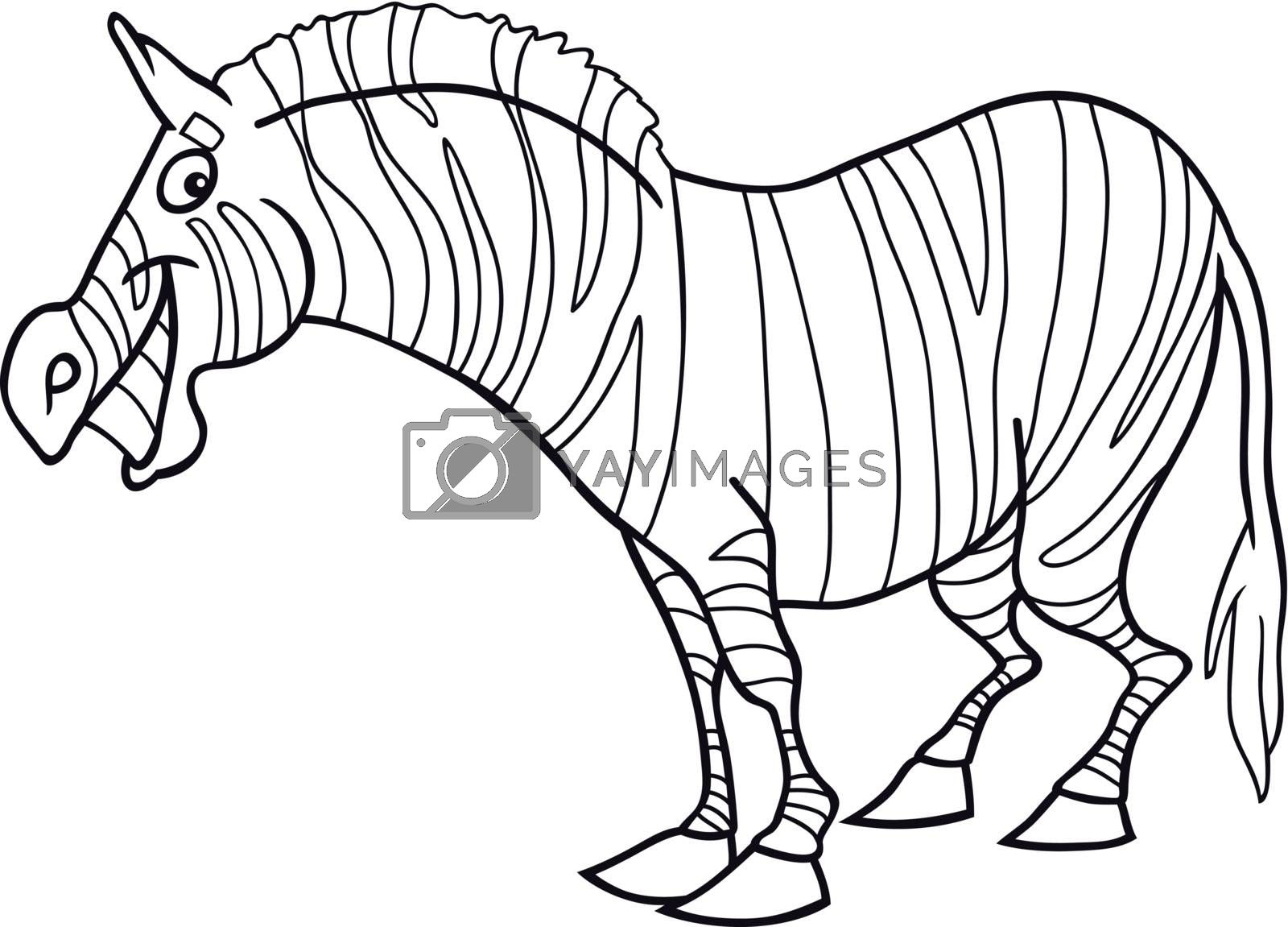 cartoon illustration of funny zebra for coloring book