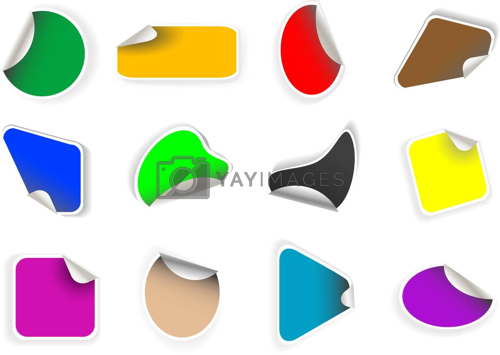 set of colorful stylish stickers label badge