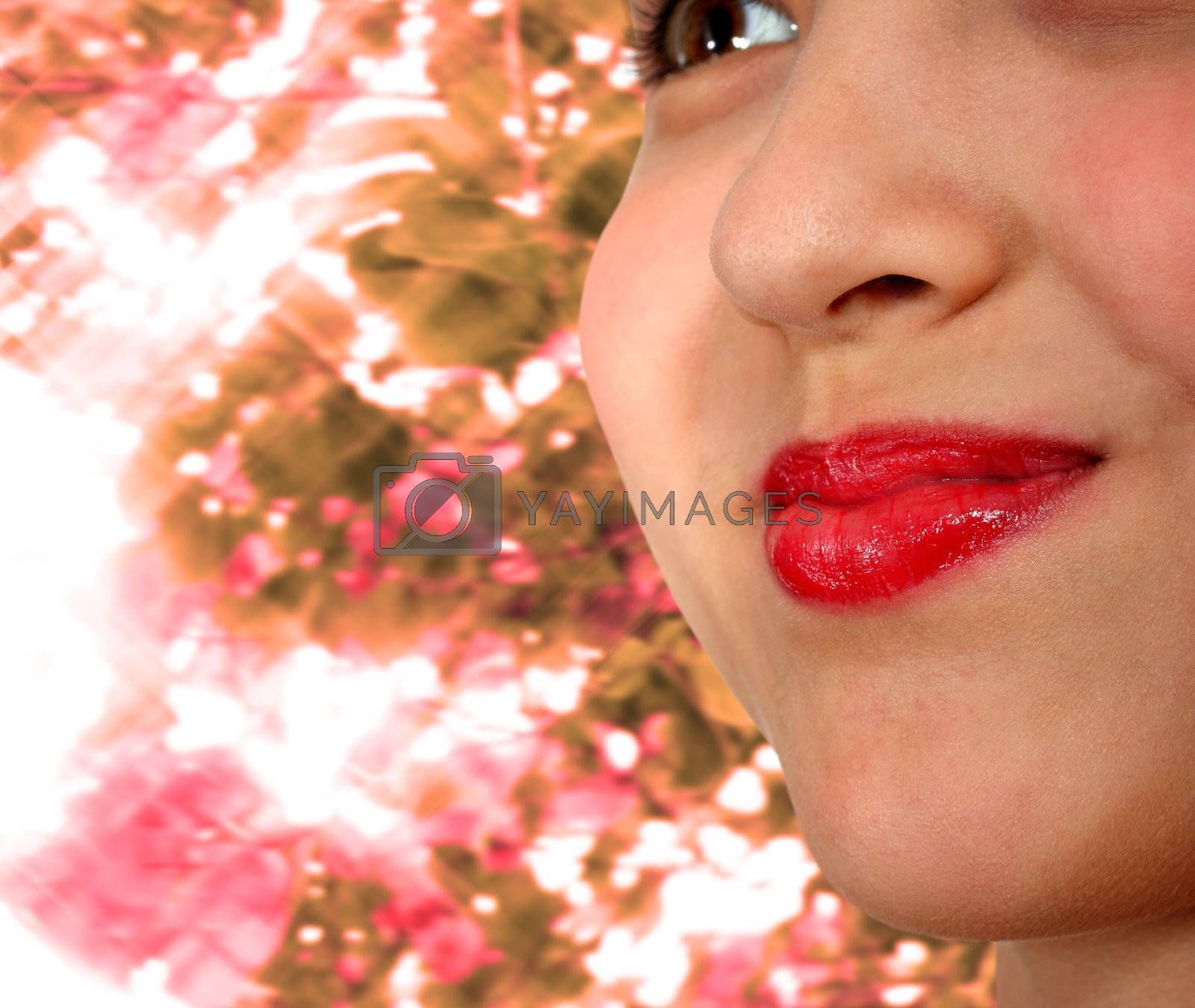 Smiling Girl With Red Lipstick and Sparkling Sunlight Background