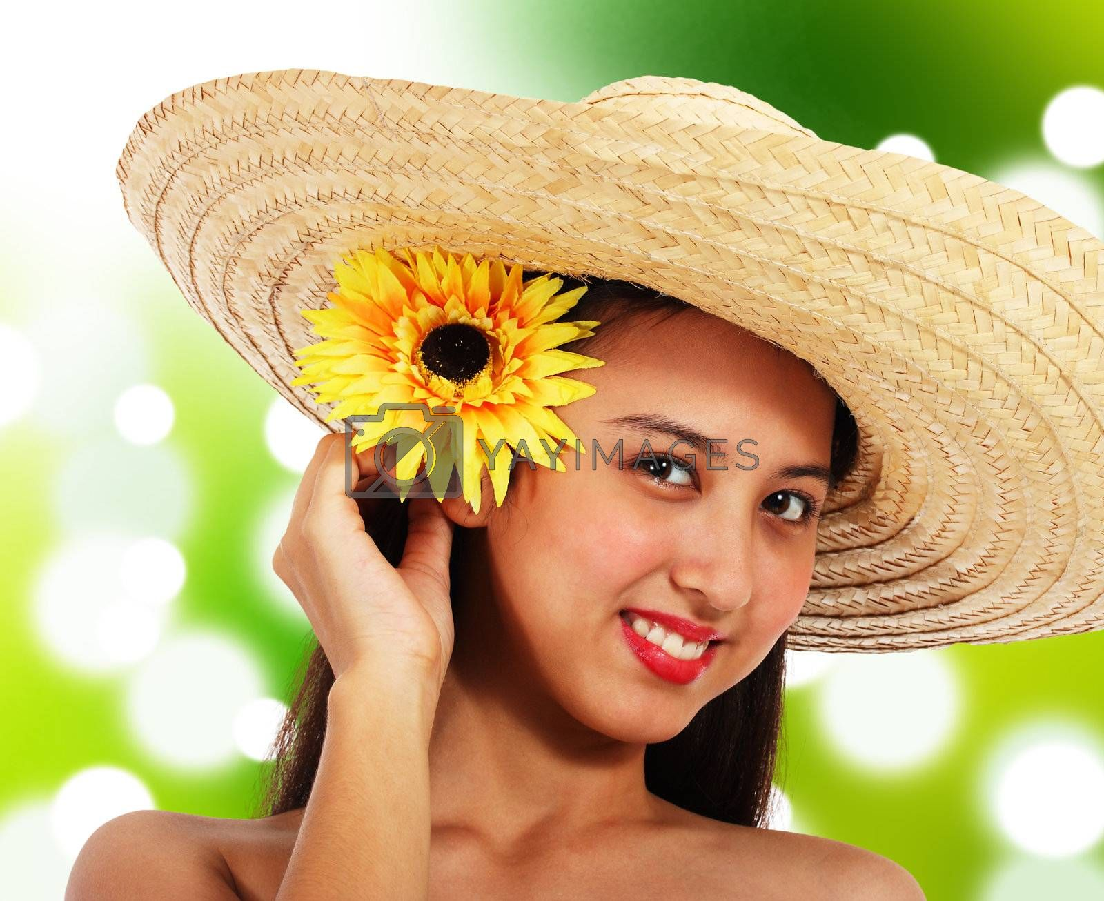 Smiling Girl Wearing A Straw Hat, In The Countryside