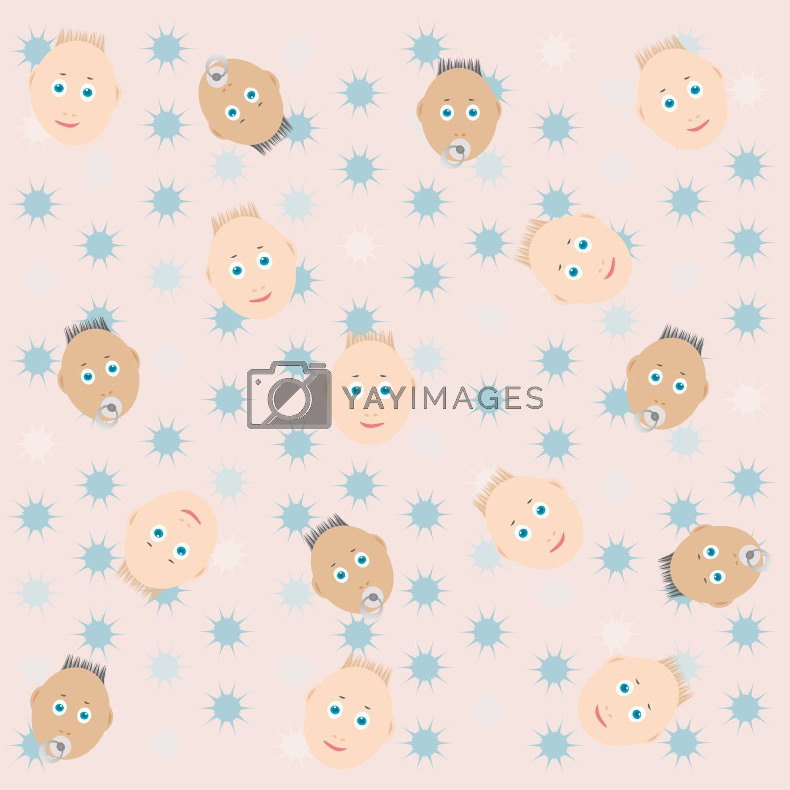 smile babies with pacifier greeting background