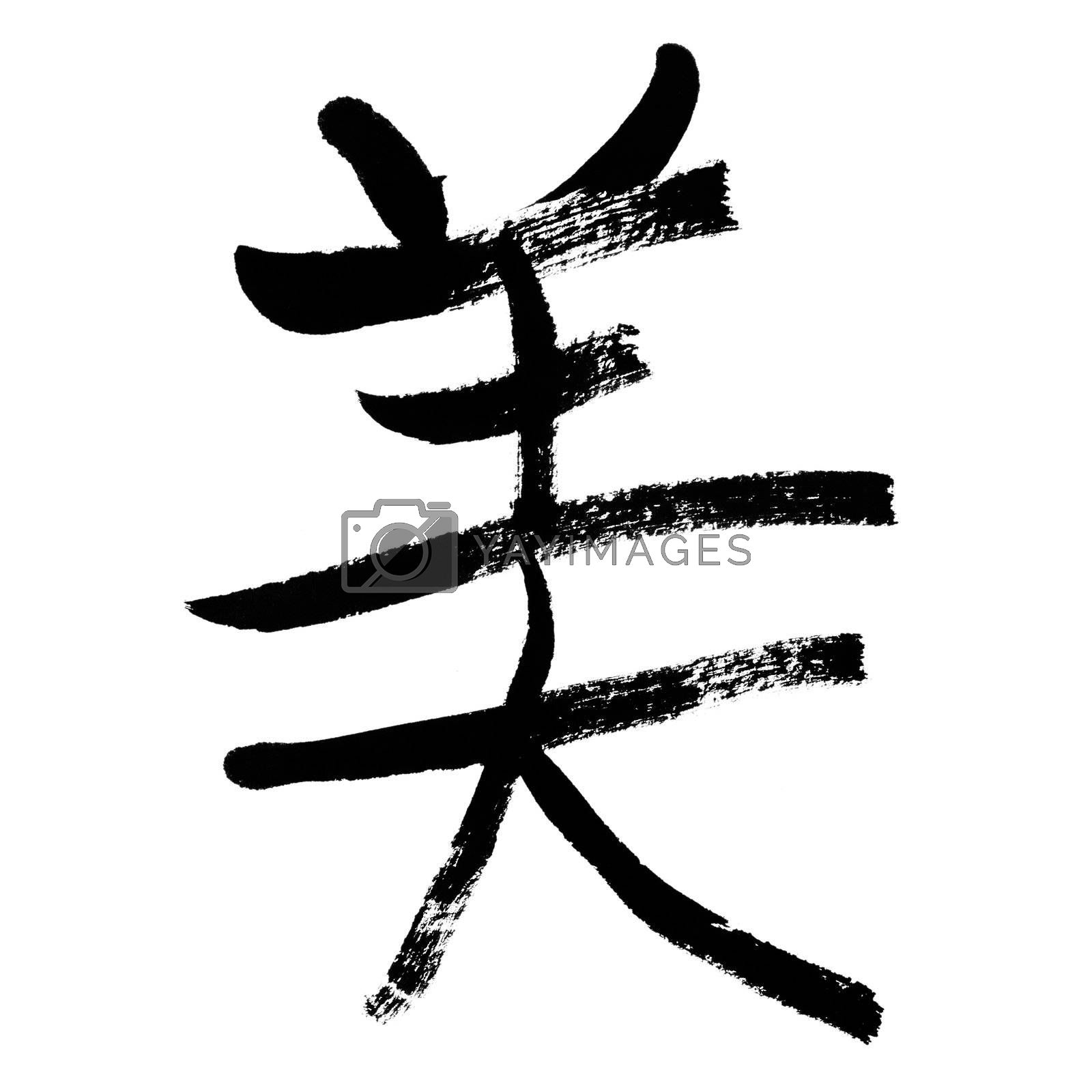 Beauty, traditional chinese calligraphy art isolated on white background.