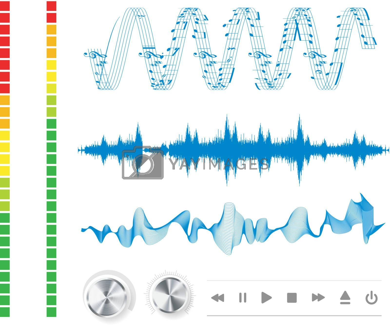 Notes, buttons and sound waves. Music background.