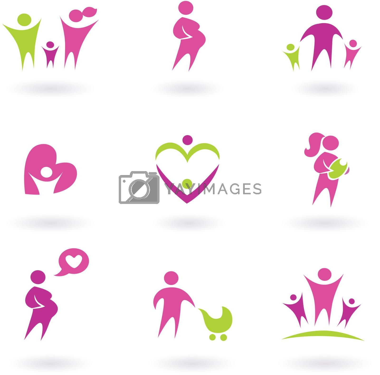 Maternity, pregnancy and health icons isolated on white - pink, green by Lordalea
