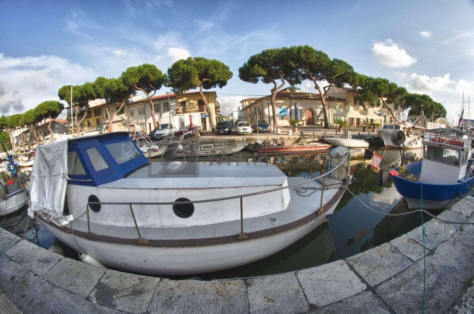 Old Boat anchored in Viareggio, Italy