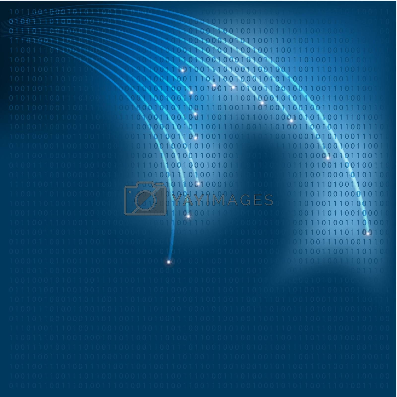 Abstract Background - Optical Fibers on blue Background Vector