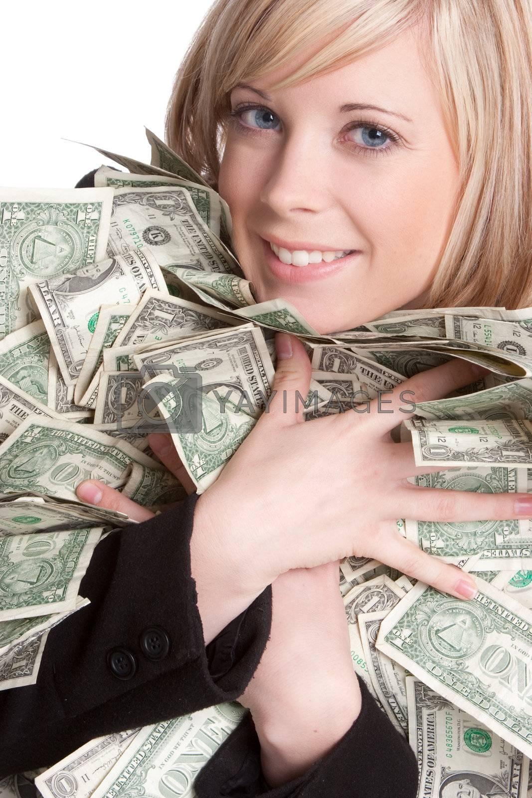 Smiling beautiful woman holding money