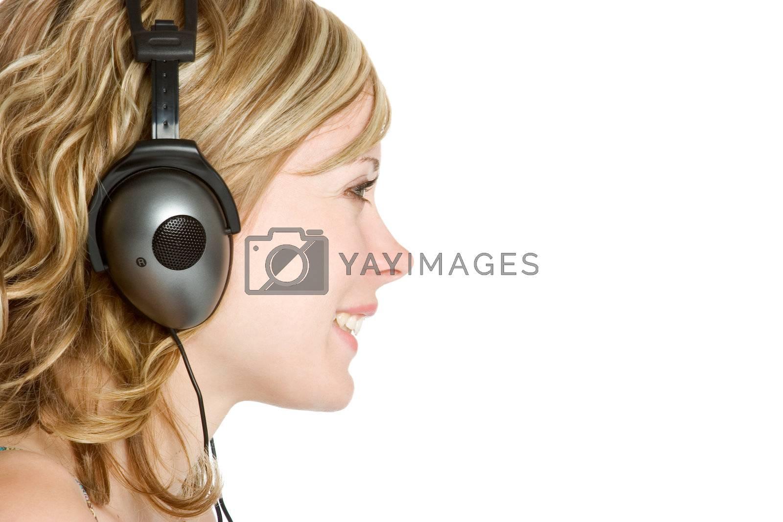 Smiling headphones music listening girl