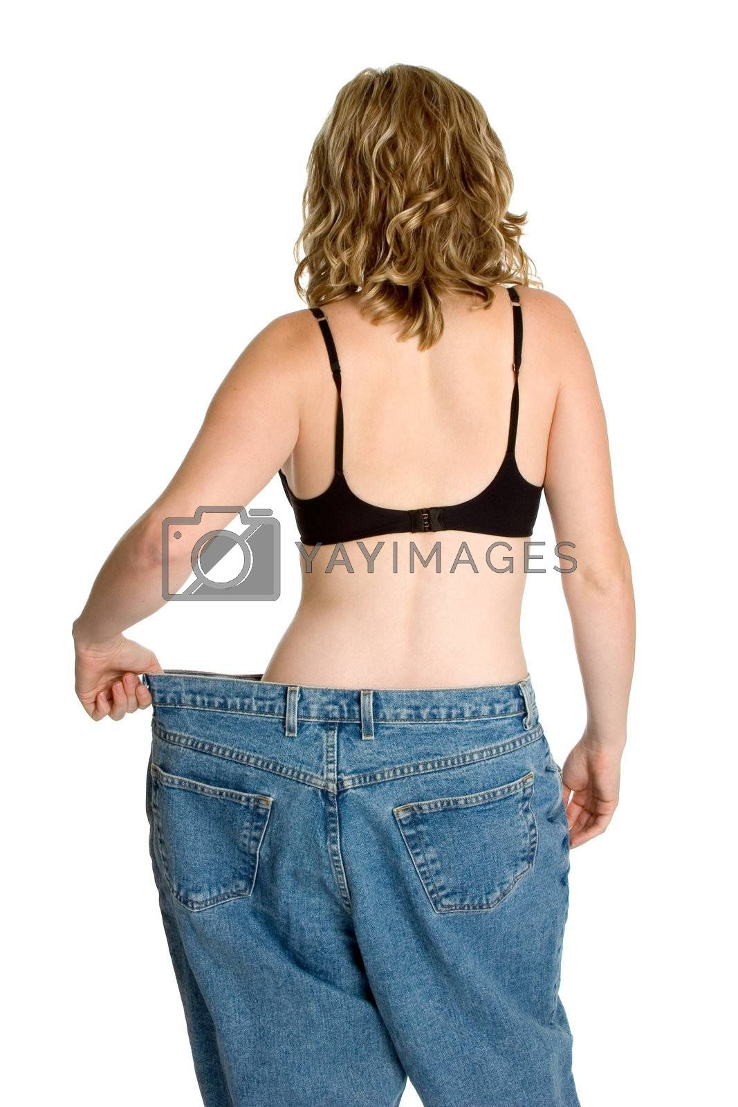 Isolated successful weight loss woman