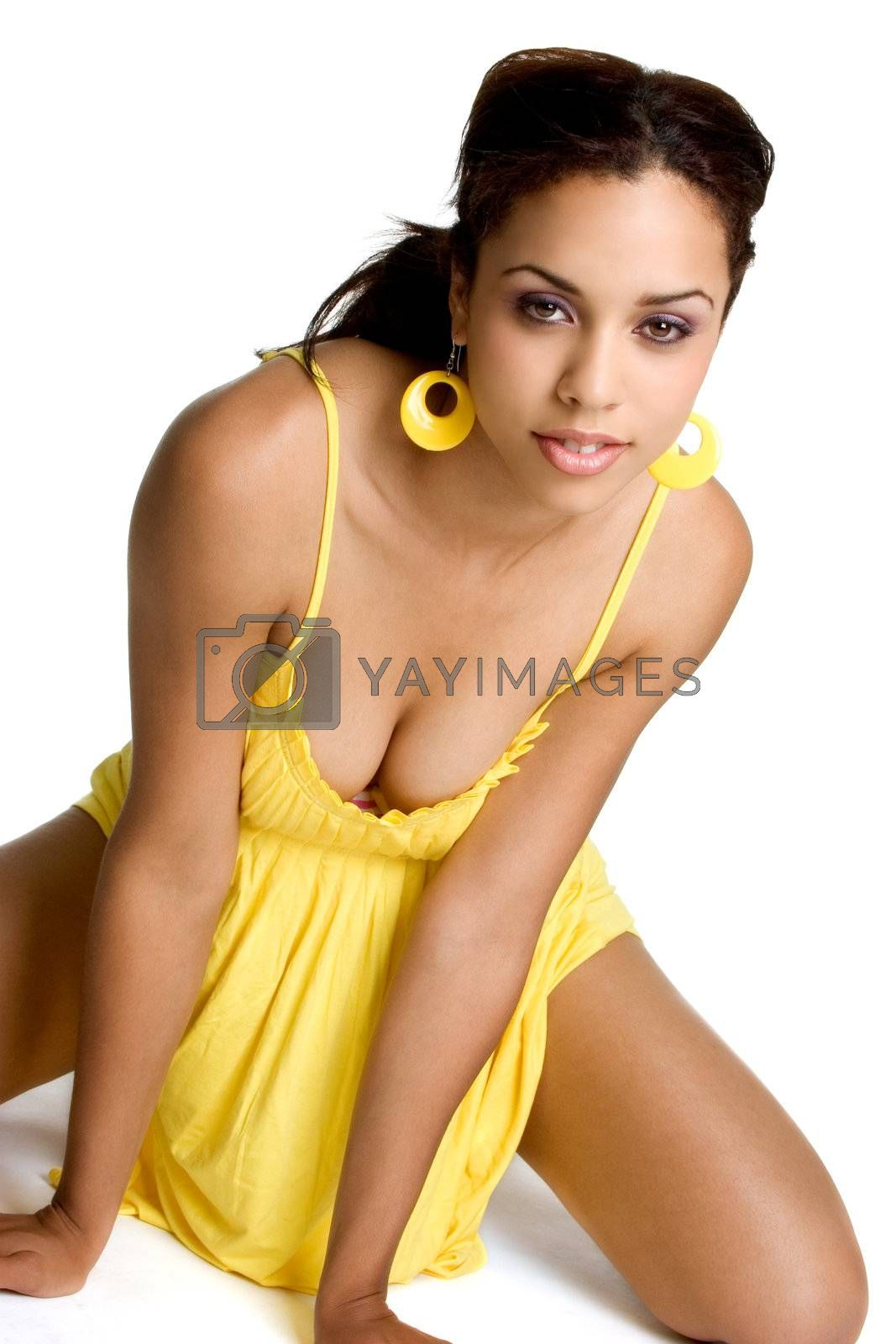 Beautiful isolated black woman smiling