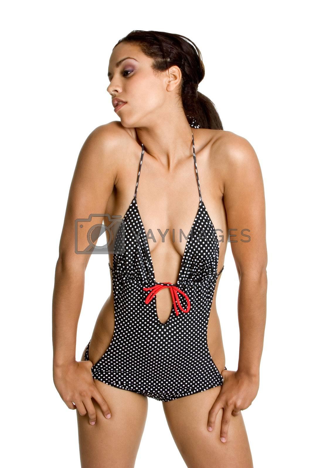 Beautiful isolated black swimsuit woman