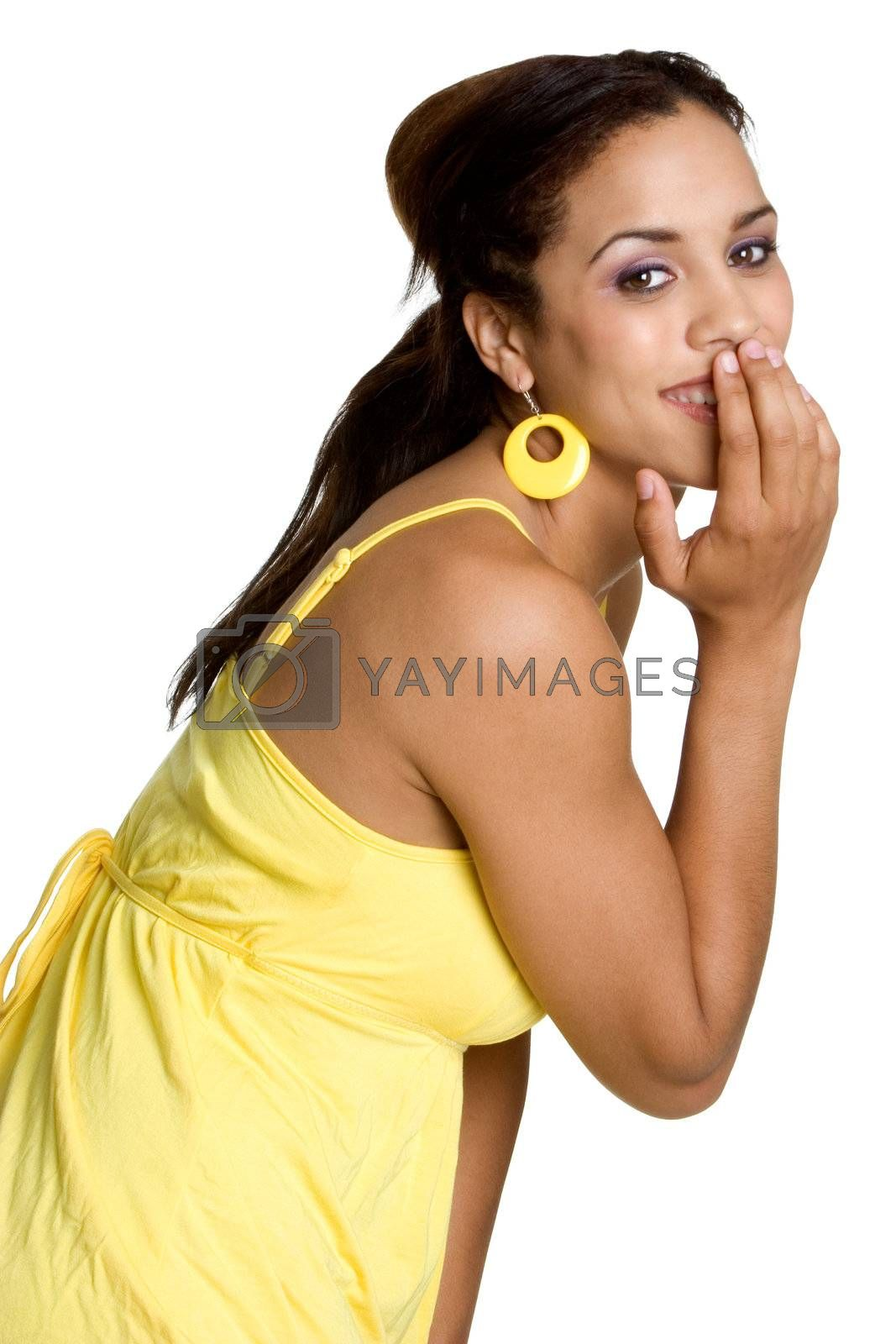 Beautiful isolated black woman laughing
