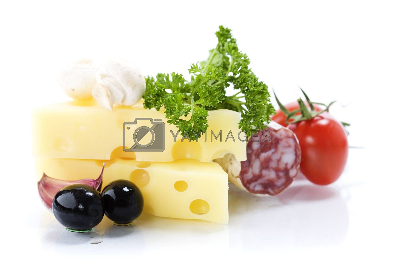 Tasty salami, cheese, tomato, olives and fresh parsley on white background