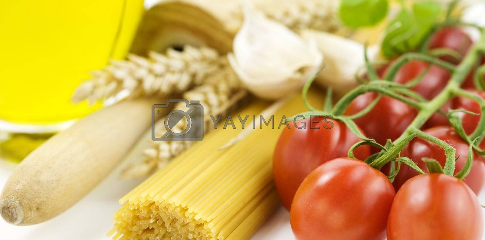 Symbolic arrangement of the Italian cuisine over white