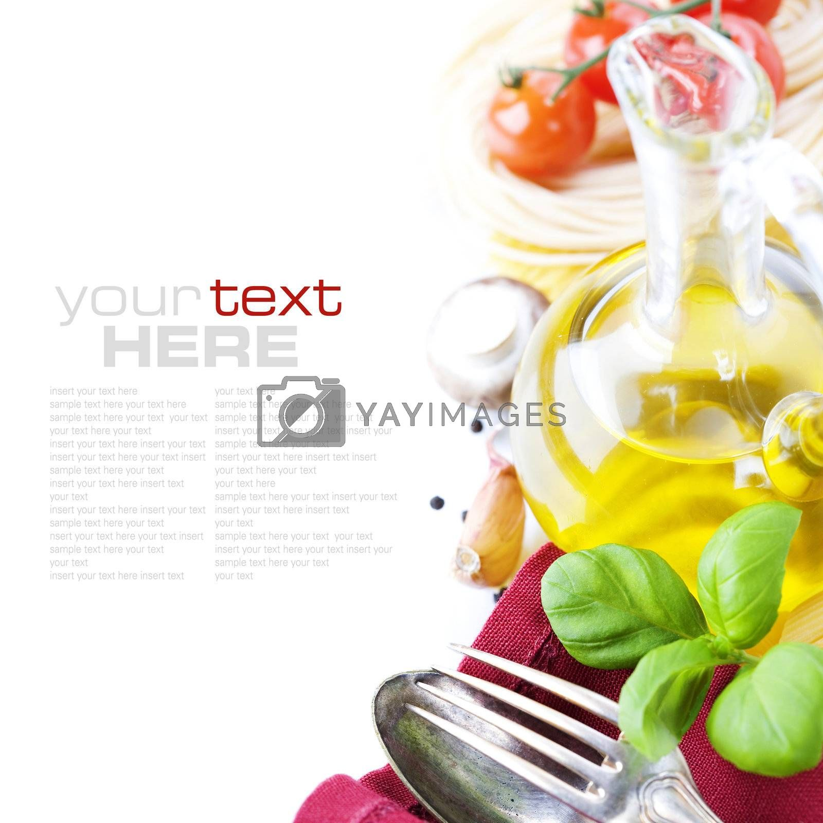 Spoon, fork, napkin and pasta ingredients (Pasta, olive oil, basil, mushrooms, tomato, garlic) with sample text