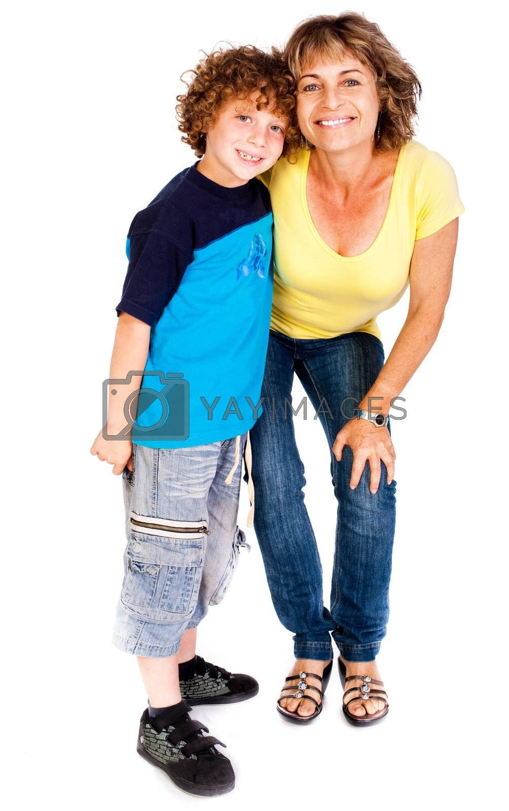 Grandmother and grandson hugging each other isolated over white background..