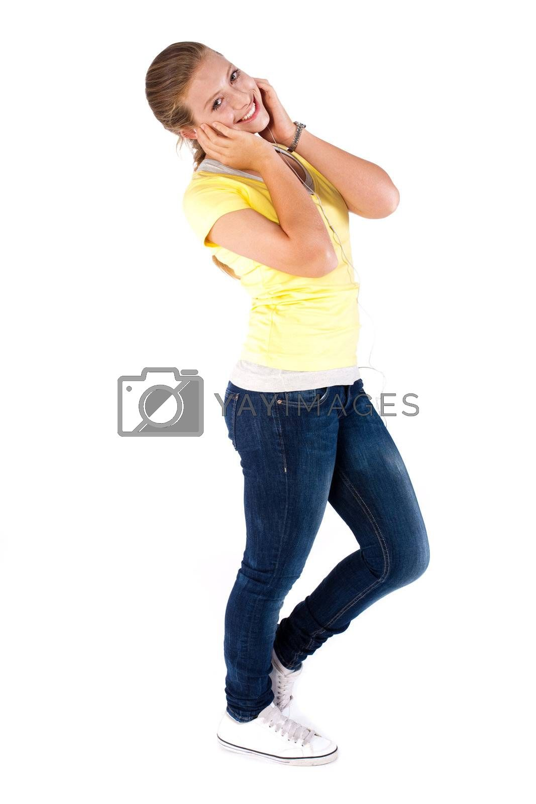 Beautiful young caucasian girl isolated over white background.