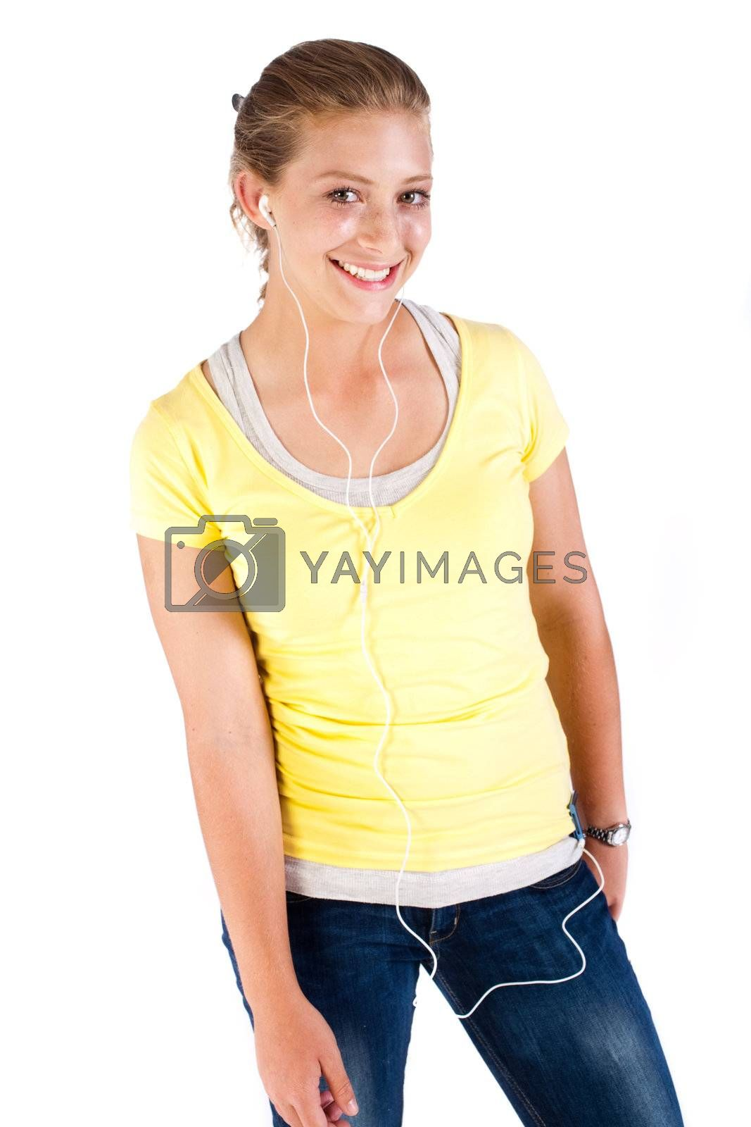 Portrait of an attractive young girl with headphones..