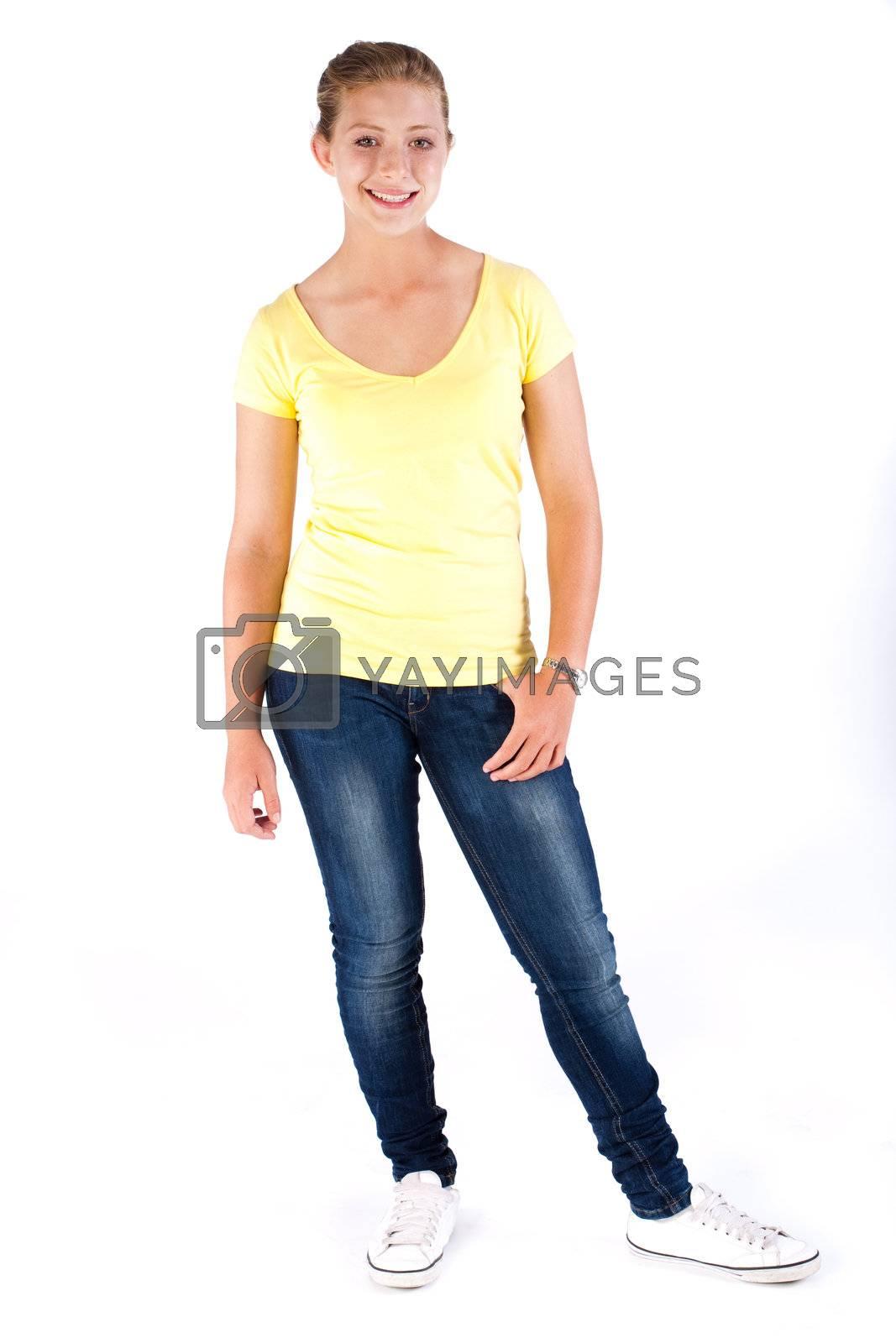 Fashion model posing in studio isolated on white background.
