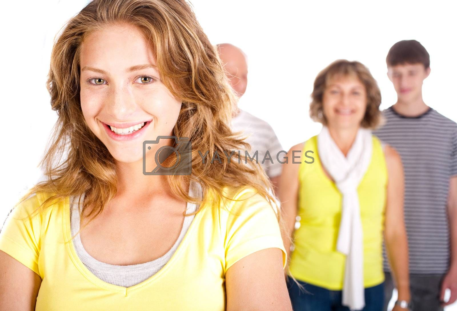 Gorgeous woman in focus with her mom in the background isolated on white....