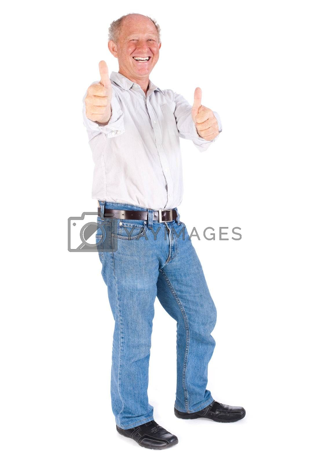 Old man showing thumbs up isolated on white background.