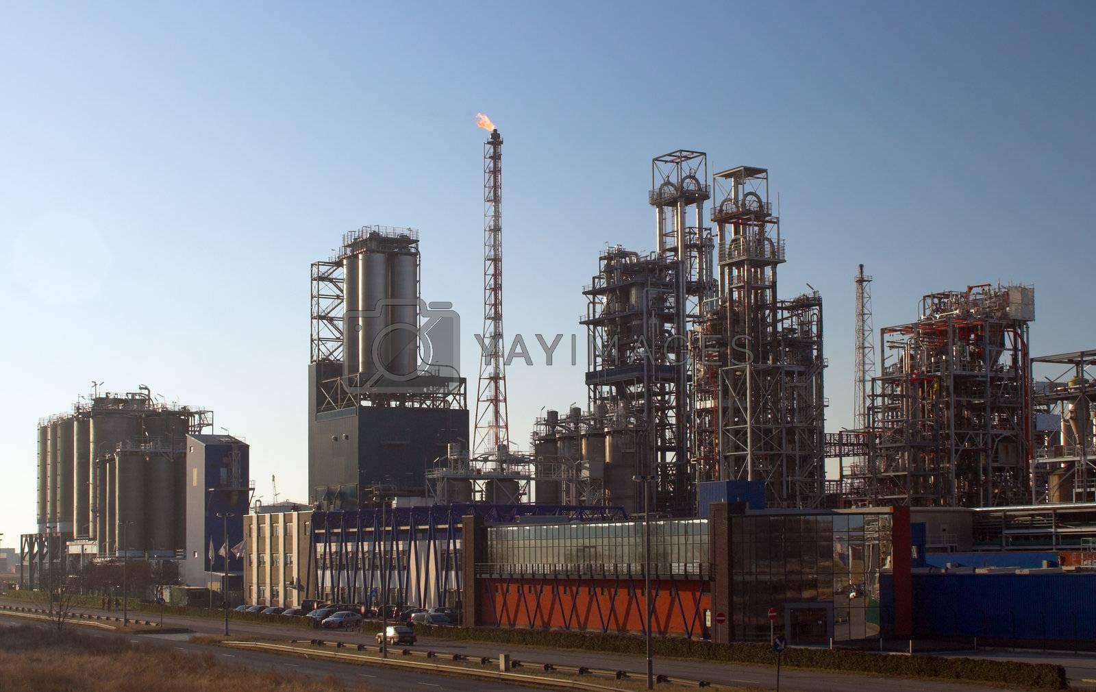 Oil refinery before sunset - Antwerp port