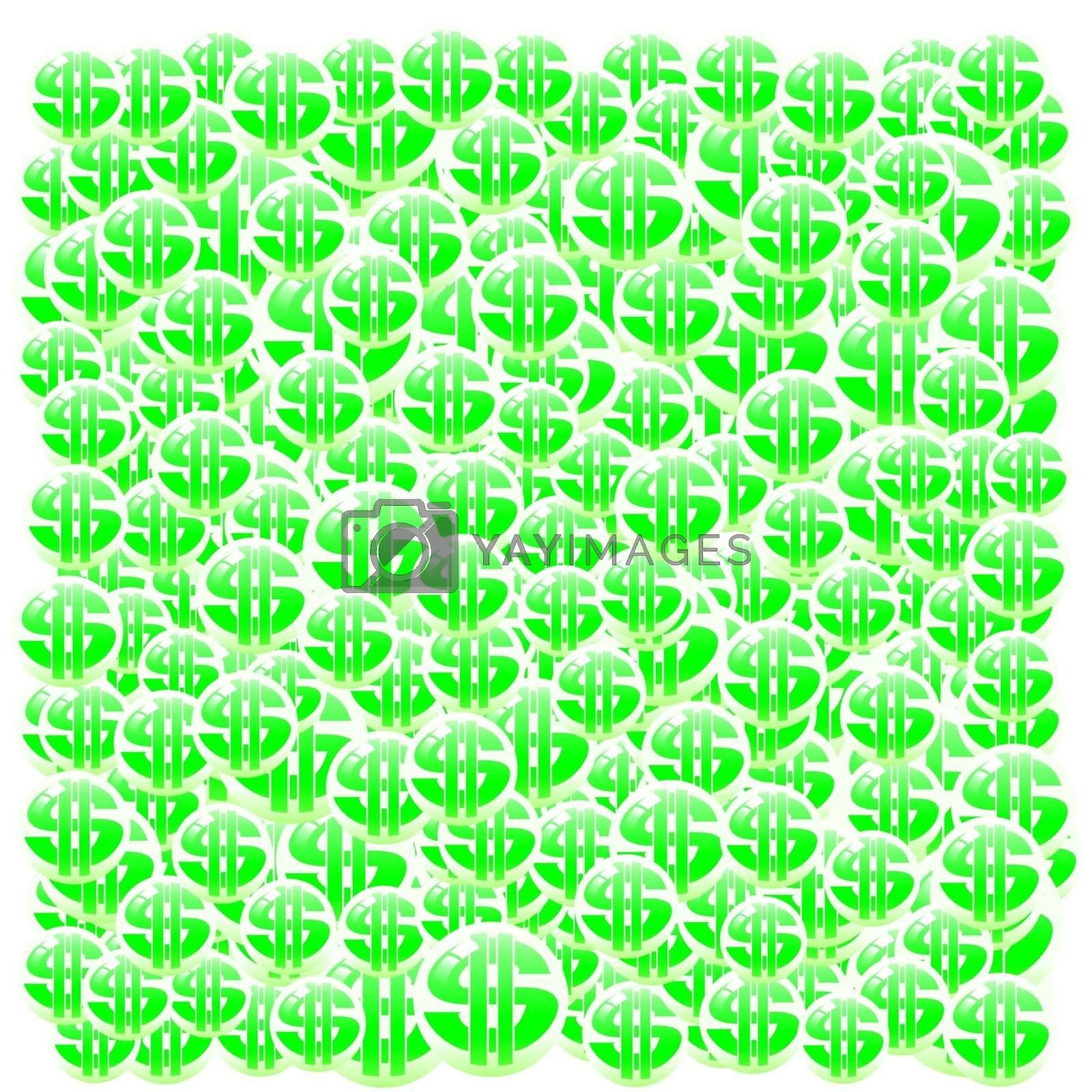 Lots of bubbles with dollar signs enclosed