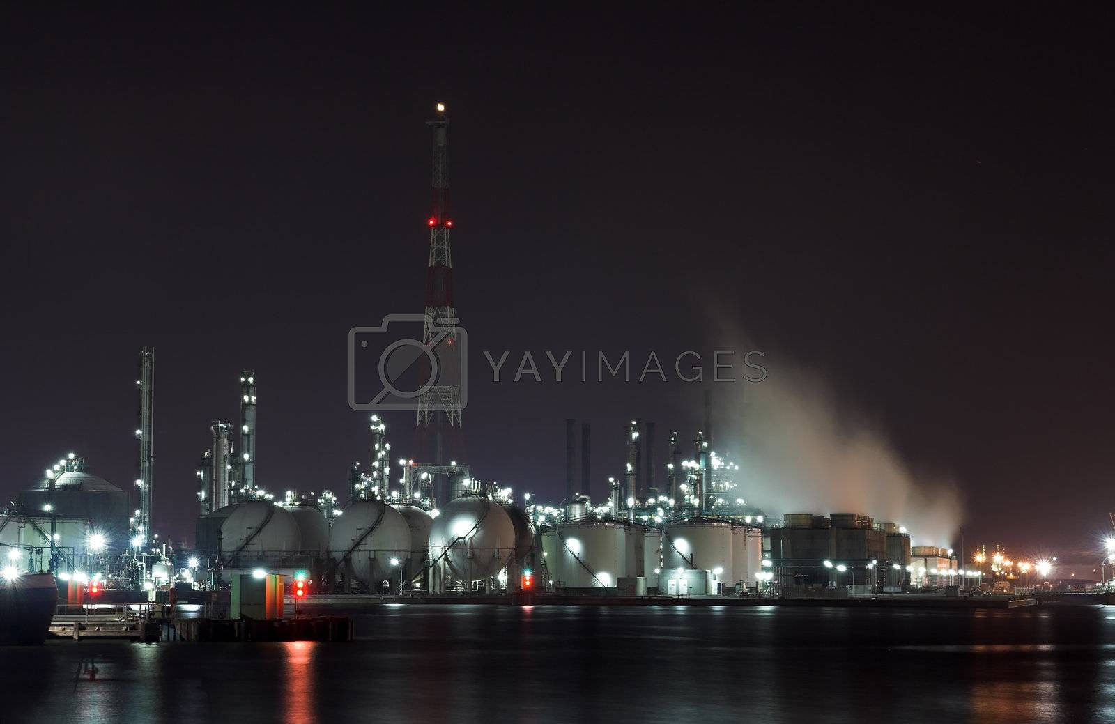 Petrochemical plant in the night - Antwerp port