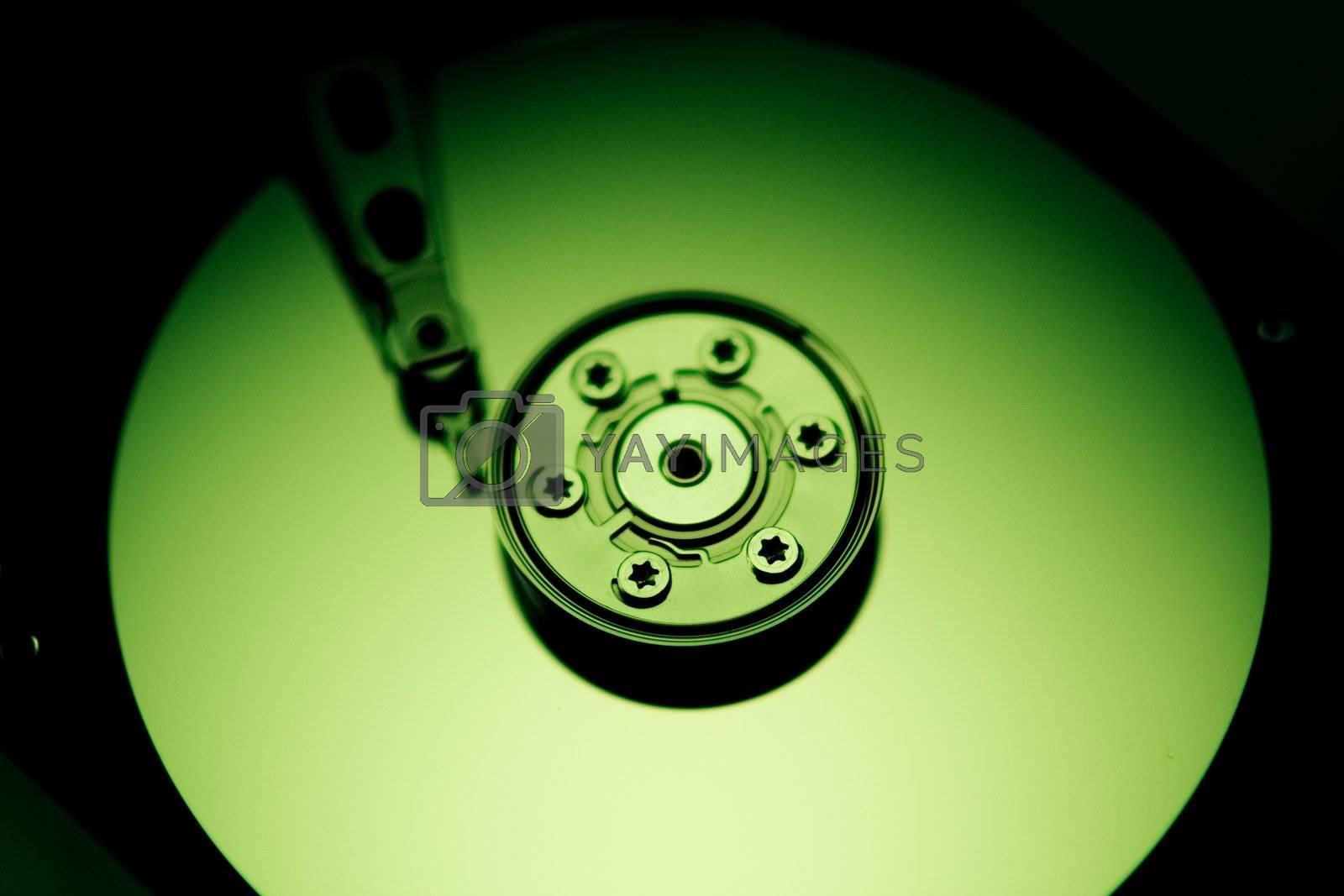a green tinted hard drive