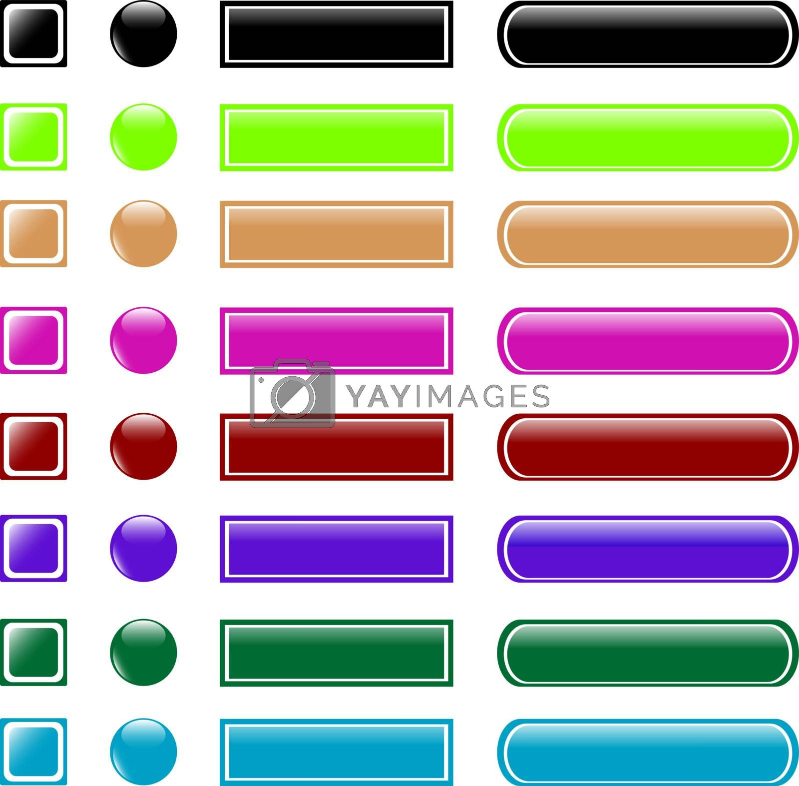 set of colorful web button shiny icon