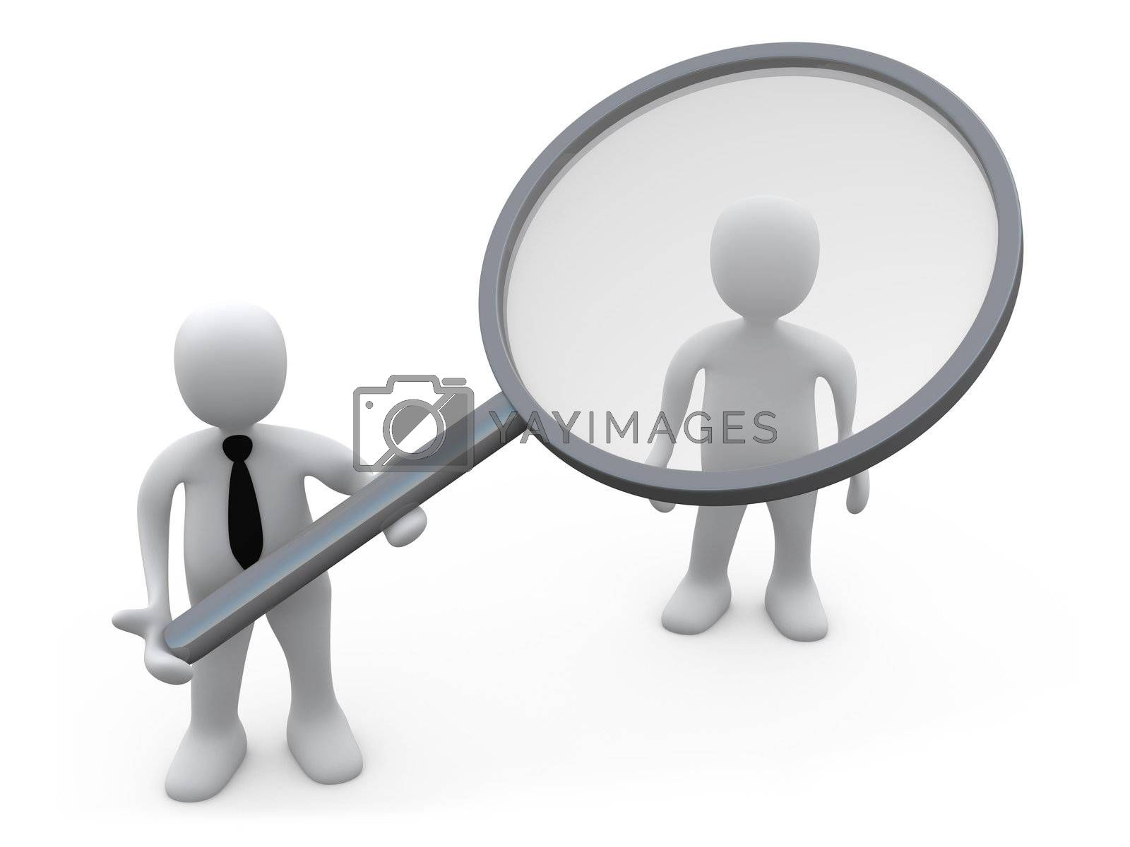 Business Person Holding A Magnifying Lens Over A Customer.