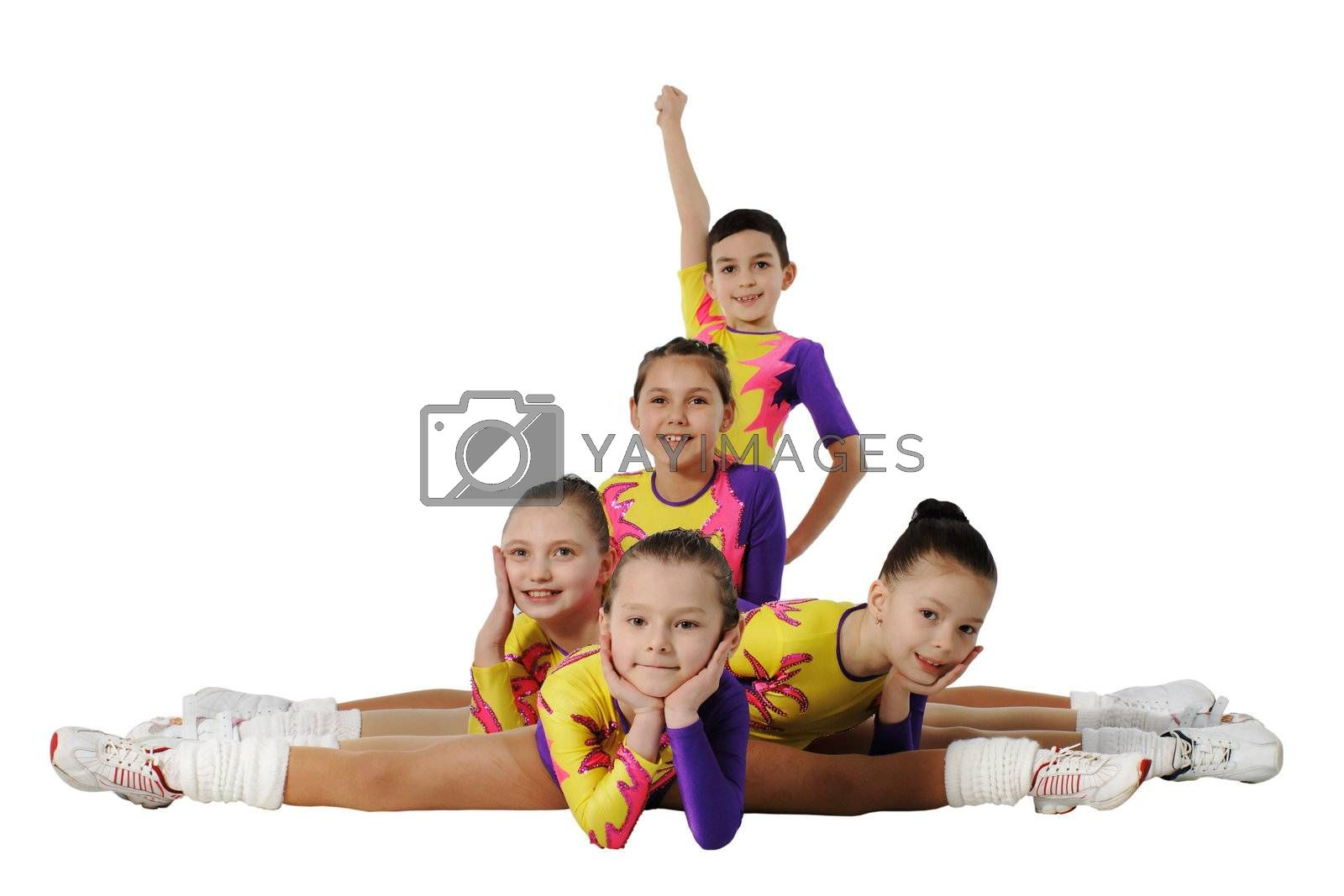 Performance by the young athlete aerobics on the white background