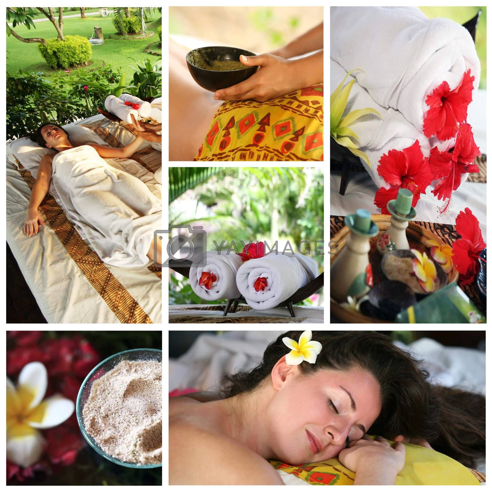 Collage from 6 photos of massage interior to Bali