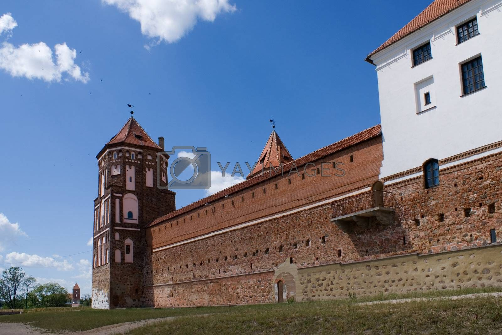 Tower and Wall with balcony of Mir Castle, Belarus