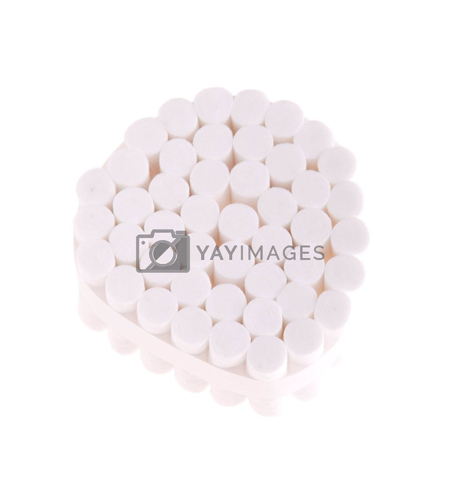dental cotton rolls isolated on white background