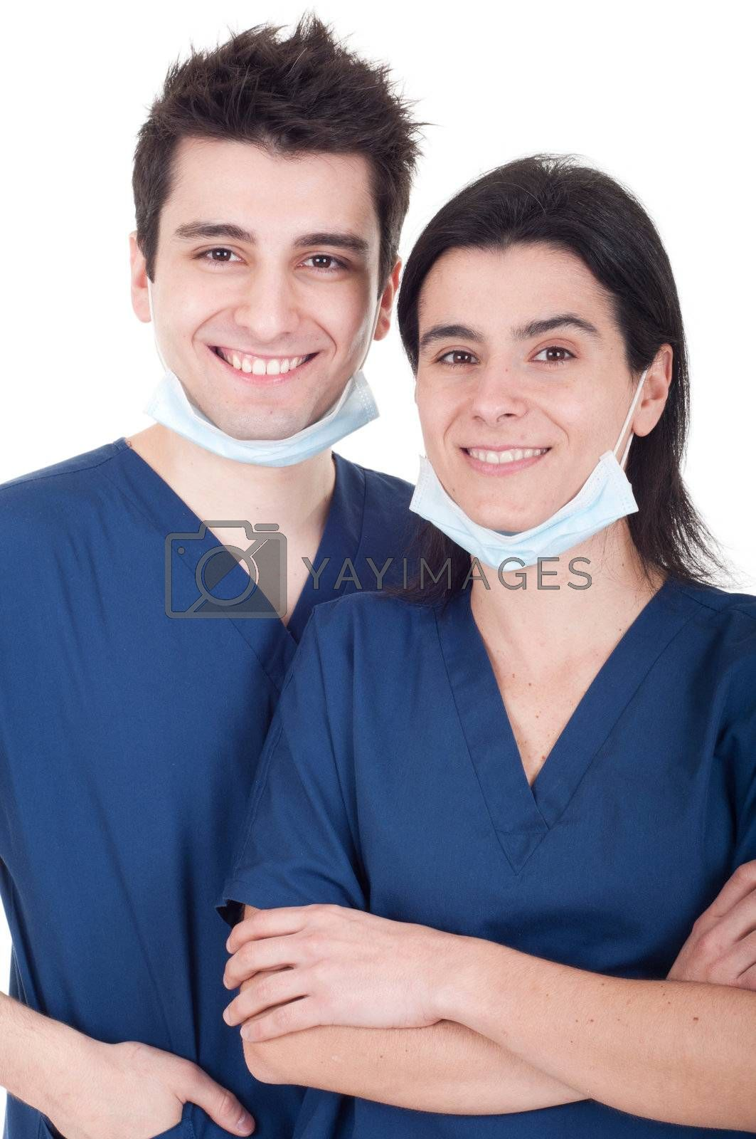 portrait of a team of doctors, man and woman wearing mask and uniform isolated on white background