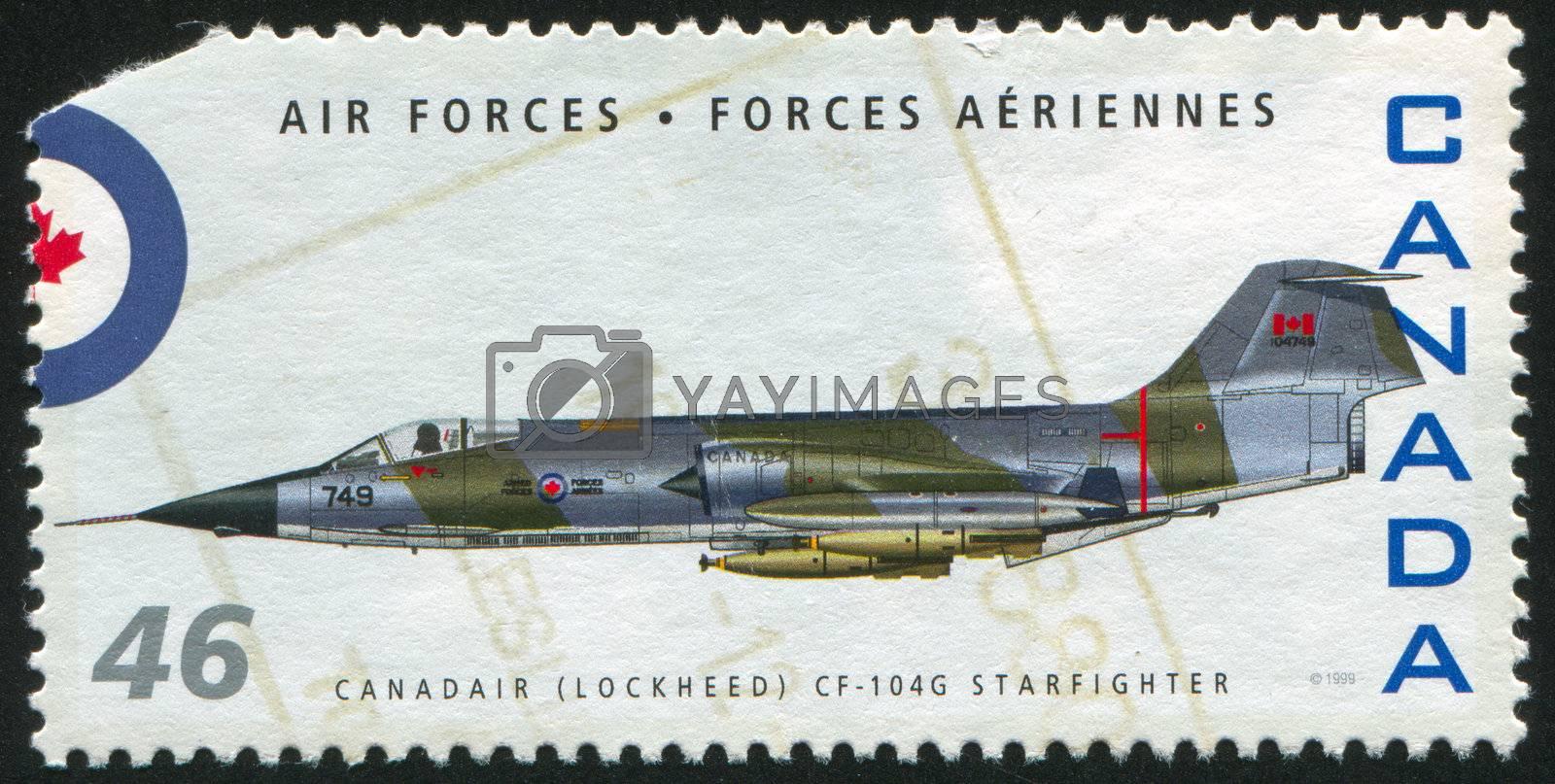 CANADA - CIRCA 1999: stamp printed by Canada, shows aeroplane, Canadair (Lockheed) CF-104G Starfighter, circa 1999
