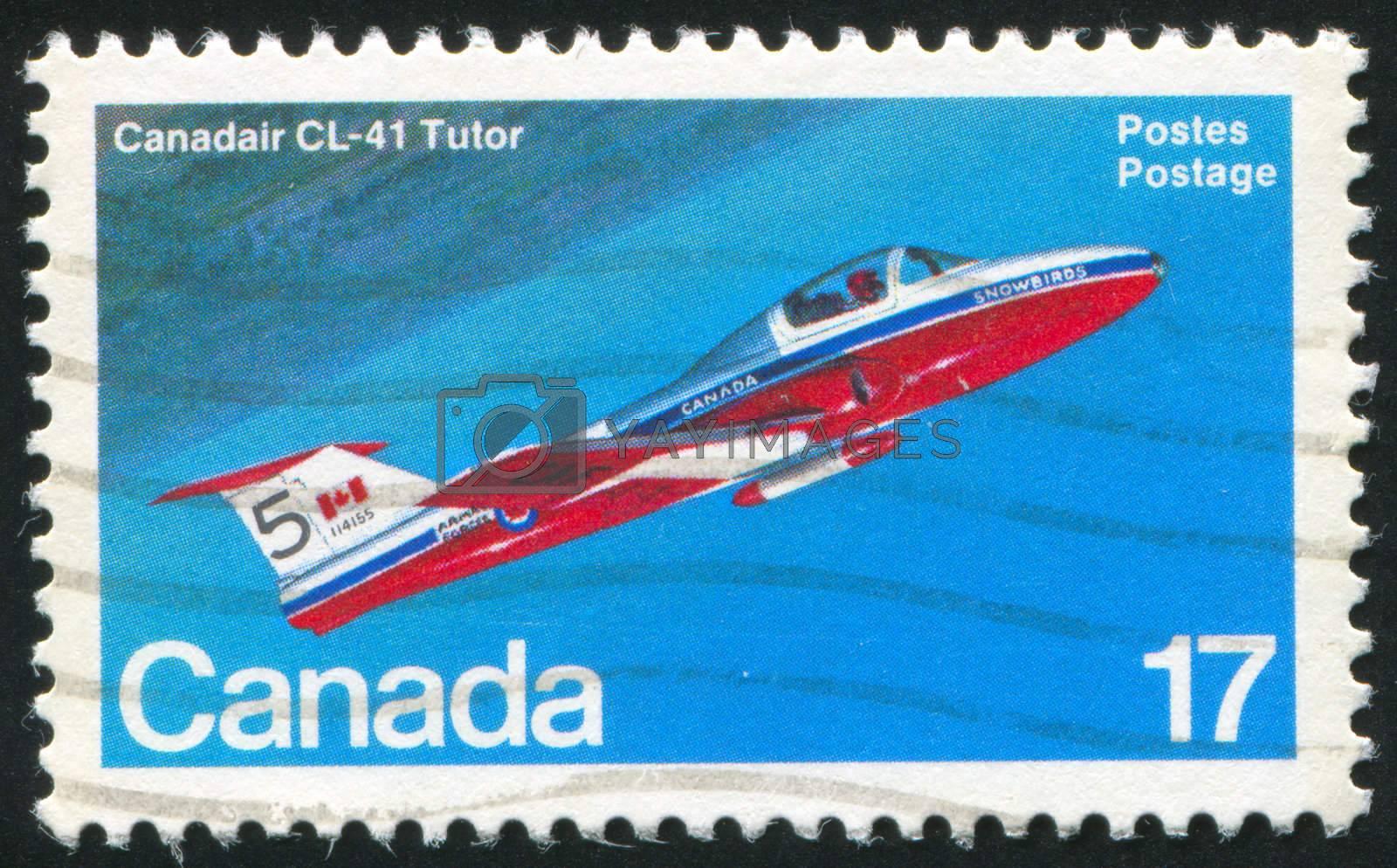CANADA - CIRCA 1981: stamp printed by Canada, shows aeroplane, Canadair CL-41 Tutor, circa 1981