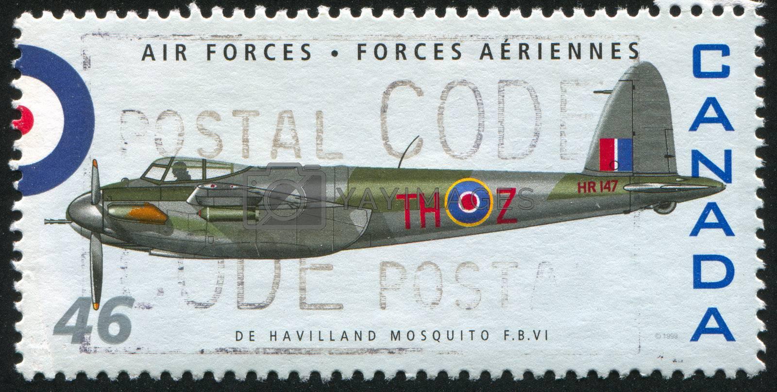 CANADA - CIRCA 1999: stamp printed by Canada, shows aeroplane, De Havilland Mosquito FBVI, circa 1999