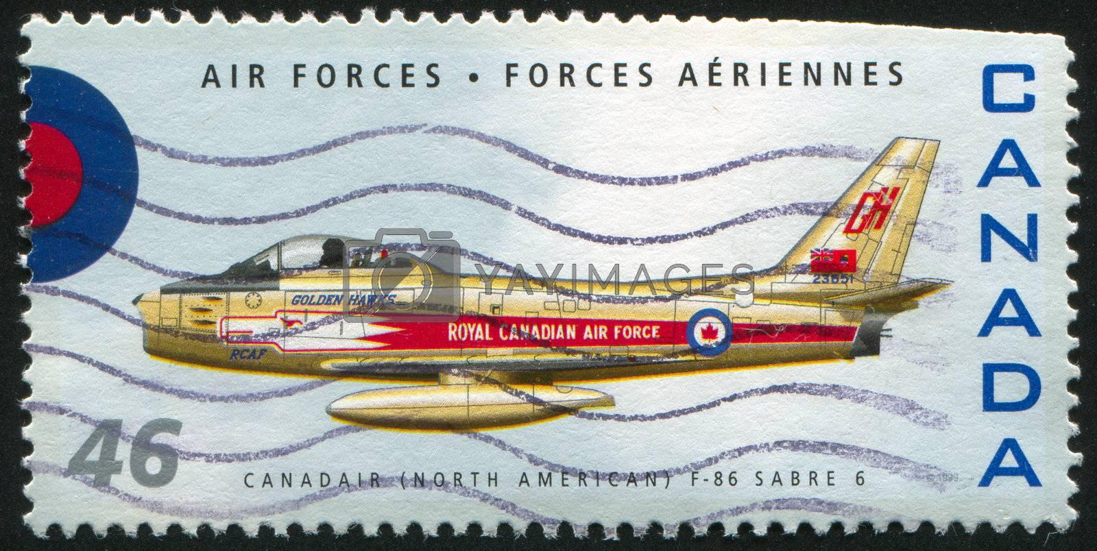 CANADA - CIRCA 1999: stamp printed by Canada, shows aeroplane, North American F-86 Sabre, circa 1999