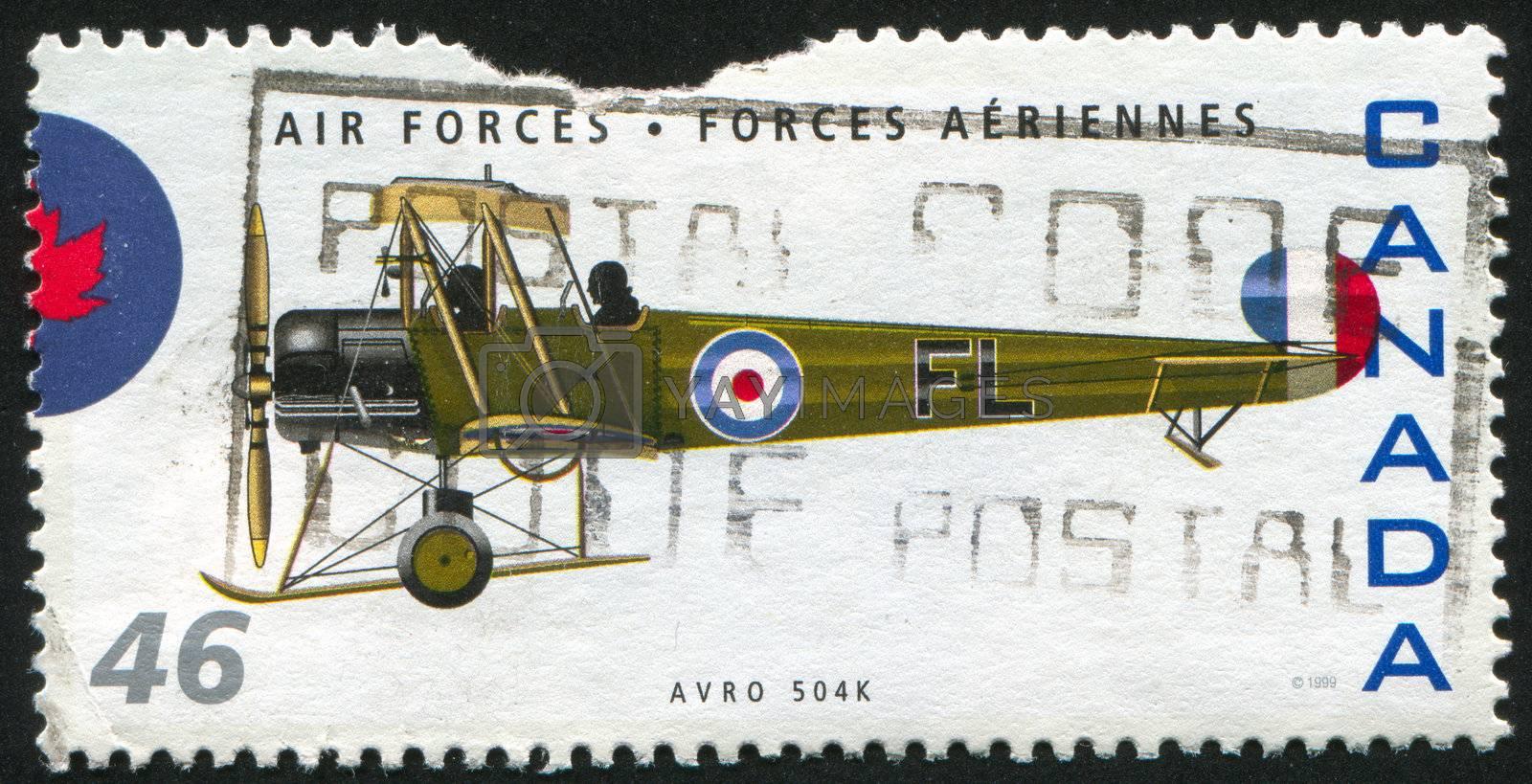 CANADA - CIRCA 1999: stamp printed by Canada, shows aeroplane, Avro 504K, circa 1999