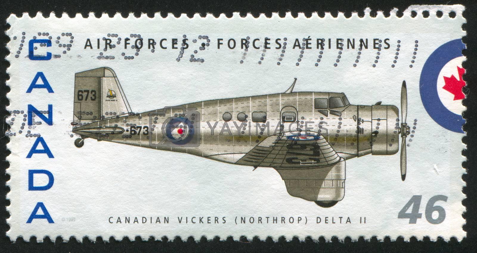 CANADA - CIRCA 1999: stamp printed by Canada, shows aeroplane, Canadian Vickers (Northrop) Delta II, circa 1999