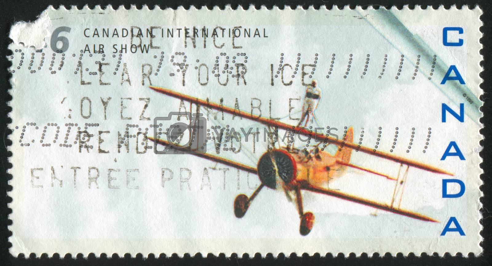 CANADA - CIRCA 1999: stamp printed by Canada, shows aeroplane, circa 1999
