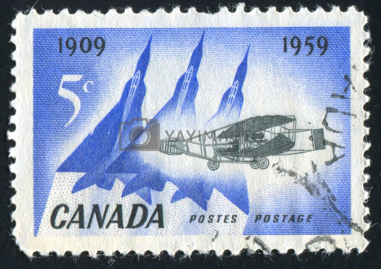 CANADA - CIRCA 1959: stamp printed by Canada, shows aeroplane, circa 1959